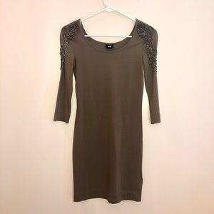 H&M taupe dress with beaded shoulder detail
